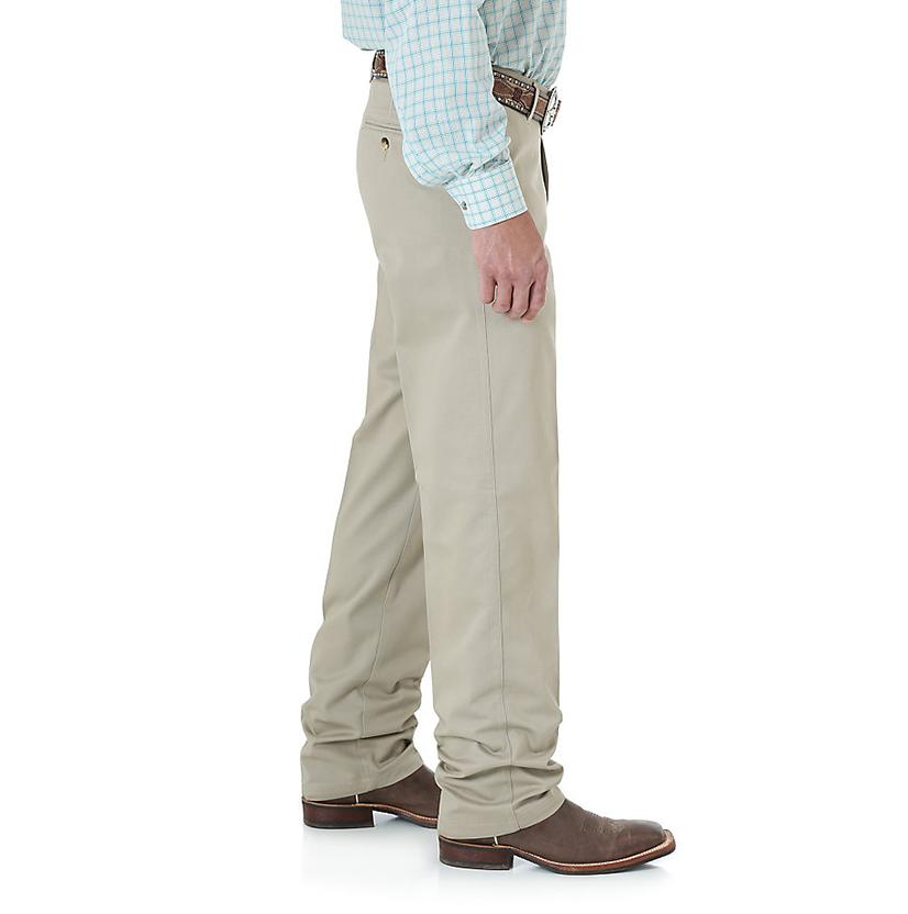 79682110 Wrangler Mens Riata Flat Front Relaxed Fit Pants - Khaki