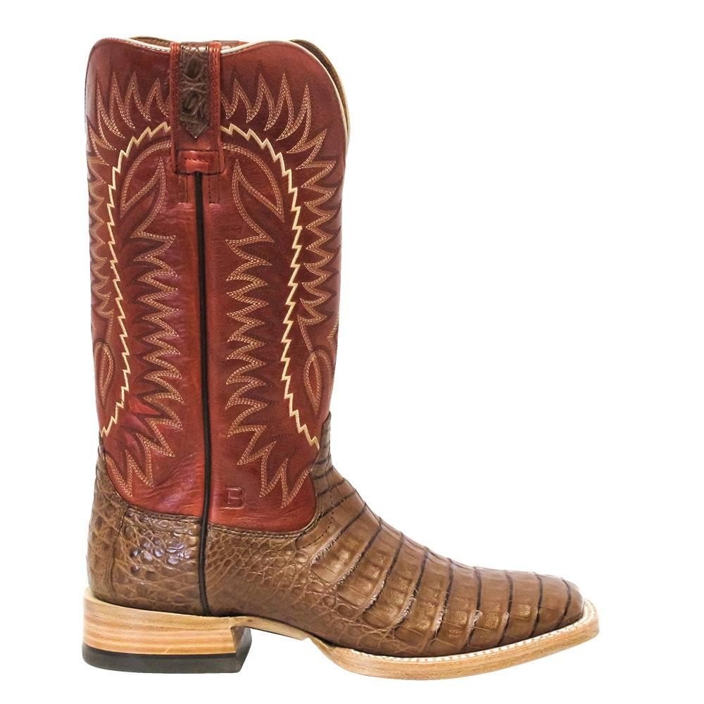72b40248c8e Mens Gold Buckle Caiman Western Square Toe Boot