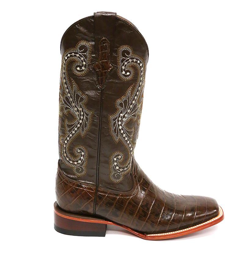 9078144cf4b Ferrini Mens Chocolate Alligator Belly Print Boots