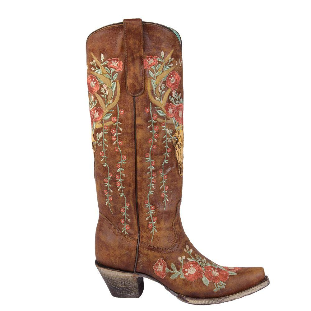 9914c6f9866 Tan Deer Skull Floral Embroidery Western Boots