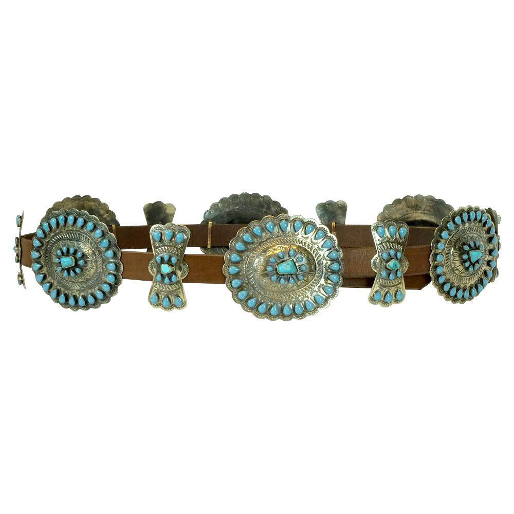 Rainbow Design Turquoise Concho Belt