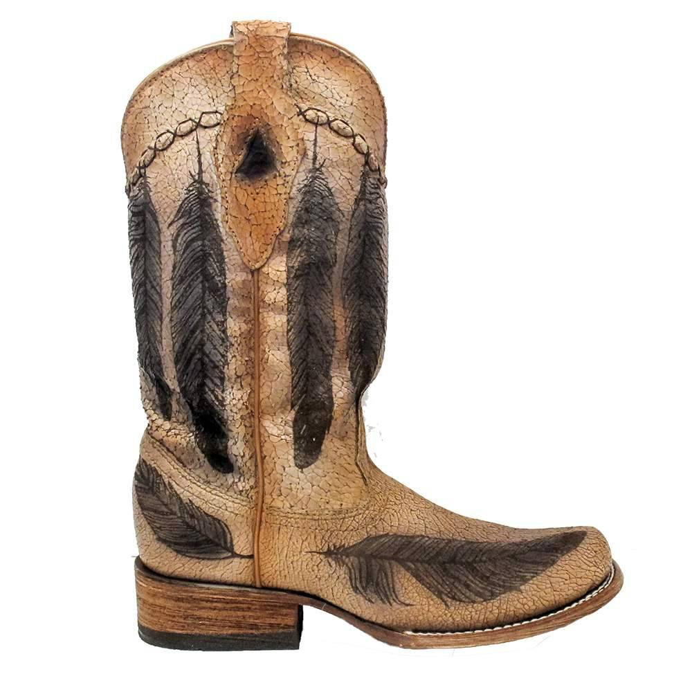 corral womens vintage feather brown boots