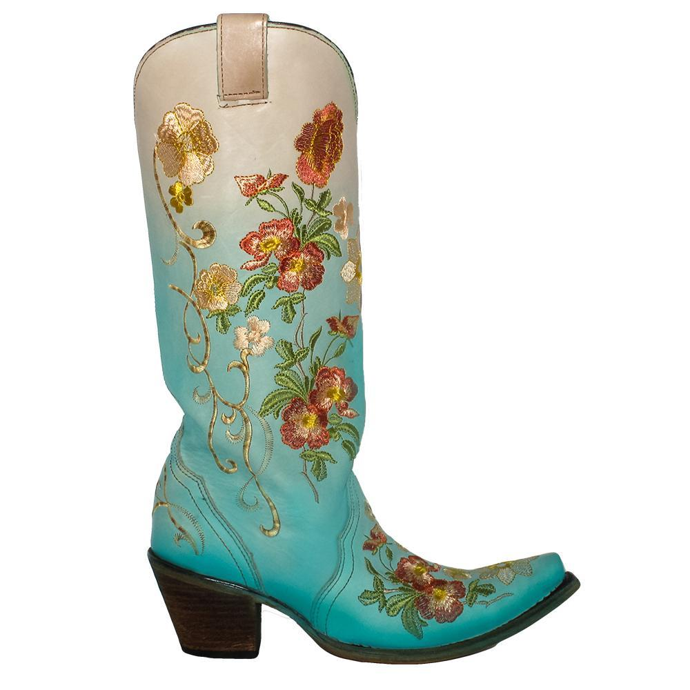 4de2ac5e773 Corral Turquoise Orange Floral Embroidered Boots