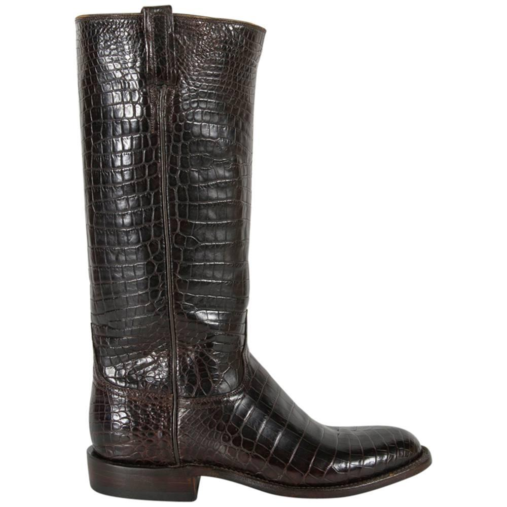 f0a45cd1f57 Lucchese Classics Chocolate Nile Belly Crocodile Western Boots