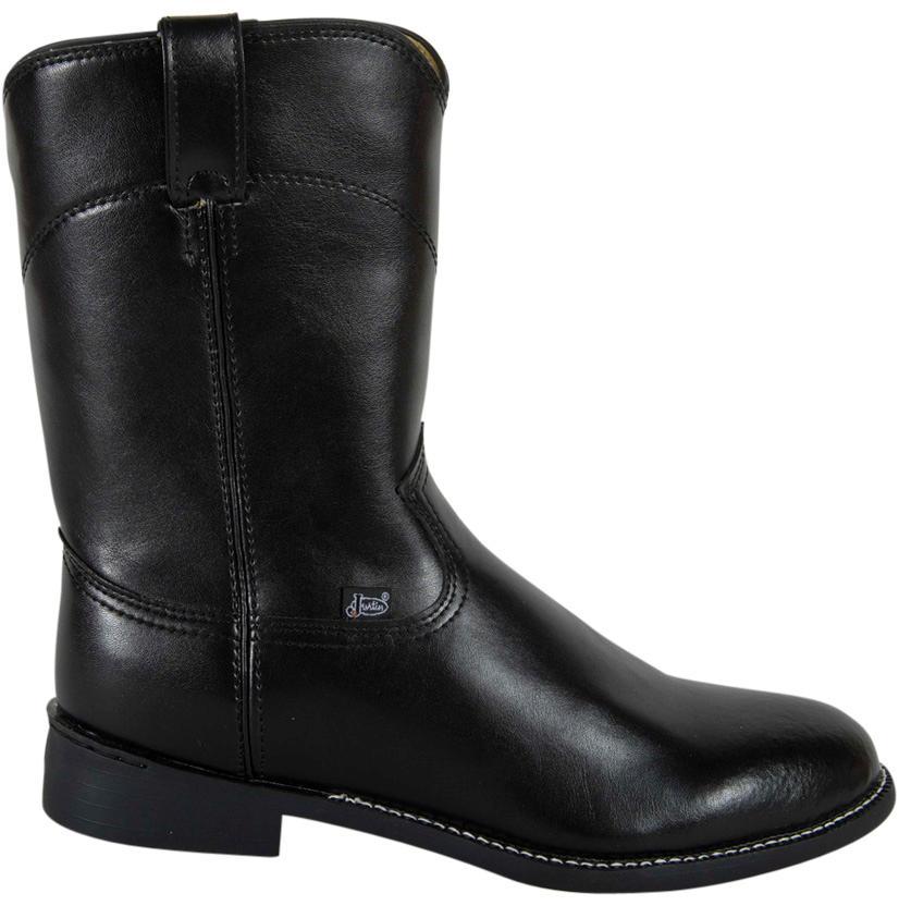c2aa6b3eaec Justin Mens Classic Black Leather Roper Cowboy Boots