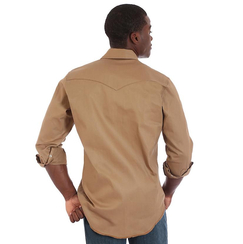fbb8d4ee Wrangler Mens Light Brown Twill Long Sleeve Western Shirt - (Extended Size)