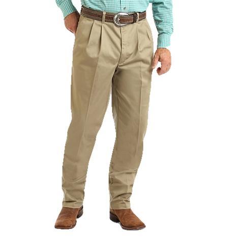 Wrangler Khaki Pleated Front Casual Men's Pants