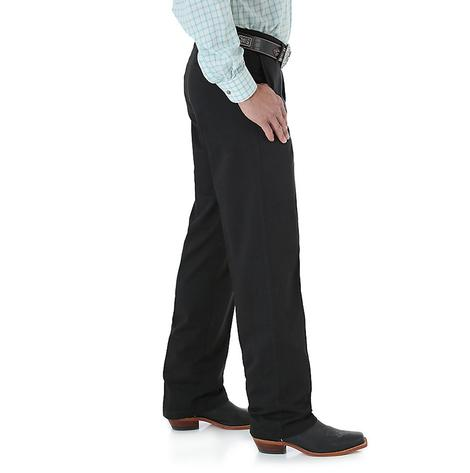 Wrangler Mens Riata Flat Front Casual Relaxed Fit Pants - Black