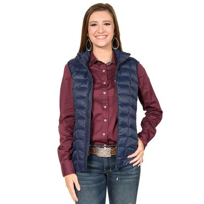 Roper Womens Navy Puffy Zip Up Vest