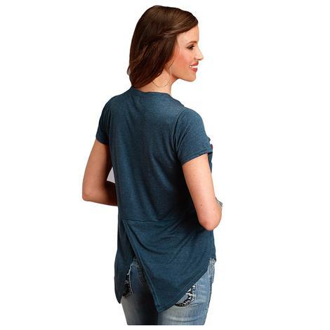 Roper Blue Embroidered V Neck Soft Jersey Women's Top