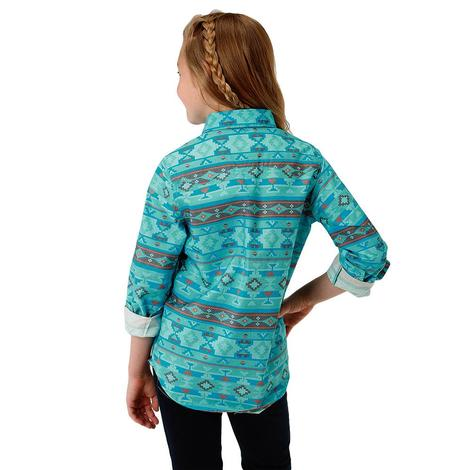 Roper Turquoise Aztec Print Long Sleeve Button Down Girl's Shirt