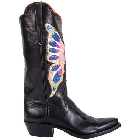 Rios Of Mercedes Womens Black Calf Butterfly Inlay Boots
