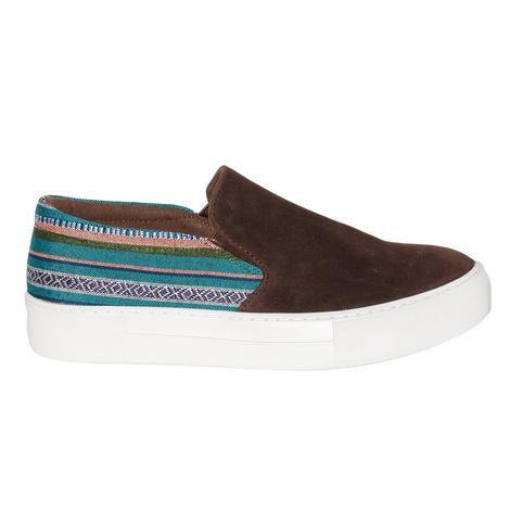 Roper Womens Darcy Brown Suede Aztec Slip On Shoes
