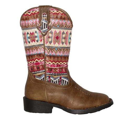 Roper Girls Pink Aztec Square Toe Boot