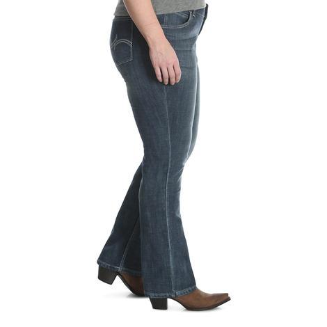 Wrangler Womens Mid Rise Straight Leg Jeans - Plus Size