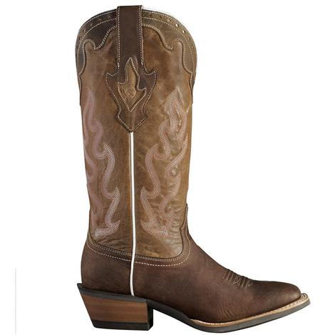 Ariat Womens Crossfire Caliente Pink Brown Cowgirl Boots