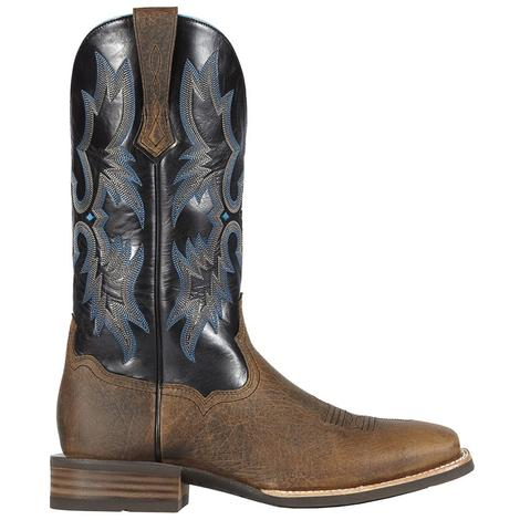 Ariat Mens Tombstone Leather Earth Black Cowboy Boots