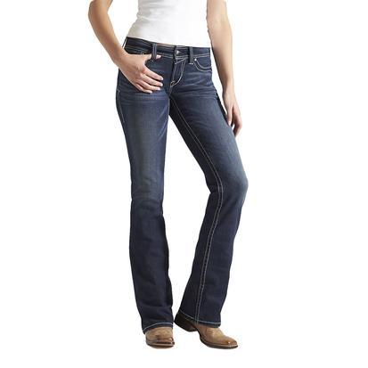 Ariat Womens R.E.A.L. Mid Rise Boot Cut Whipstitch Ocean Jeans