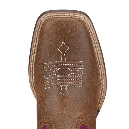 Ariat Tombstone Brown with Pink Stitching Kid's and Youth Boots