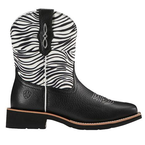 Ariat Fatbaby Heritage Womens Black with Zebra Print Western Boots