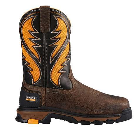 Ariat Mens Workhog Brown & Orange Composite Toe Work Boots