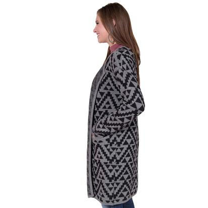 Ariat Womens Aztec Grey and Black Long Sweater