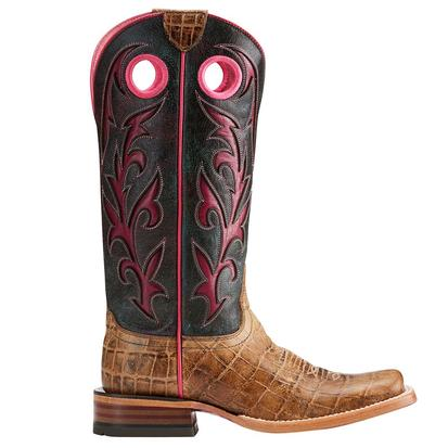 Ariat Womens Chute Out Antique Tan Croc Crackled Magenta Boot