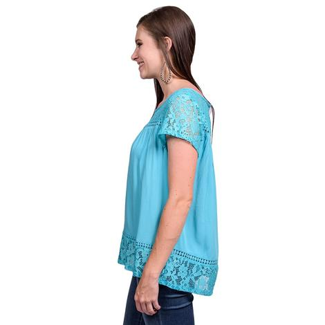 Ariat Womens Adena Maui Blue Short Sleeve Top