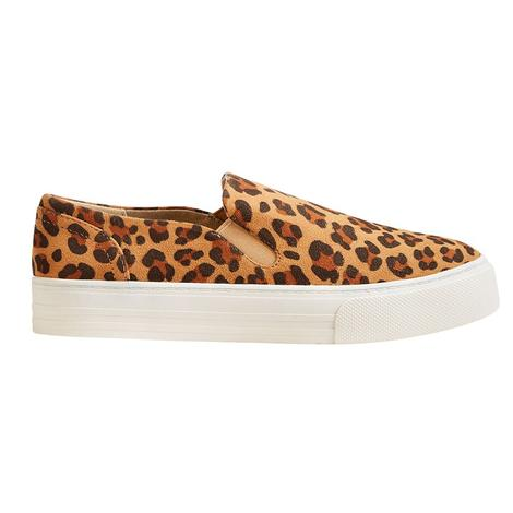 Ariat Womens Unbridled Ace Leopard Suede Slip On Shoes