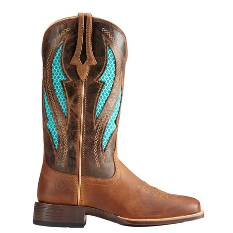 Ariat Womens Ventek Ultra Distressed Brown and Turquoise Boot