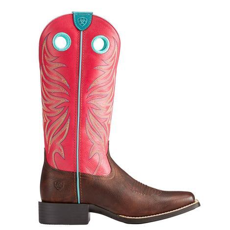 Ariat Womens Round Up Ryder Yukon Chocolate Magenta Boot