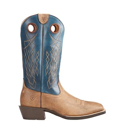 Ariat Mens Heritage Hitchrack Brown Bomber Blue Top Boot