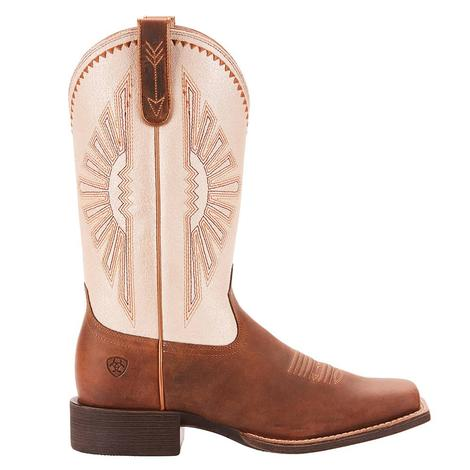 Ariat Round Up Rio Distressed Brown White Top Women's Boot