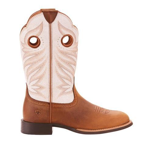 Ariat Womens Round Up Stockmen Crushed Peanut Round Toe Boots