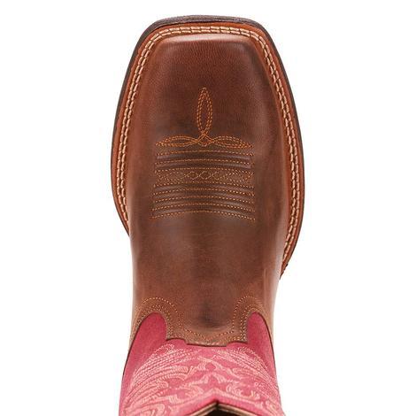 Ariat Womens Round Up Stockyards Barnwood Raspberry Boot