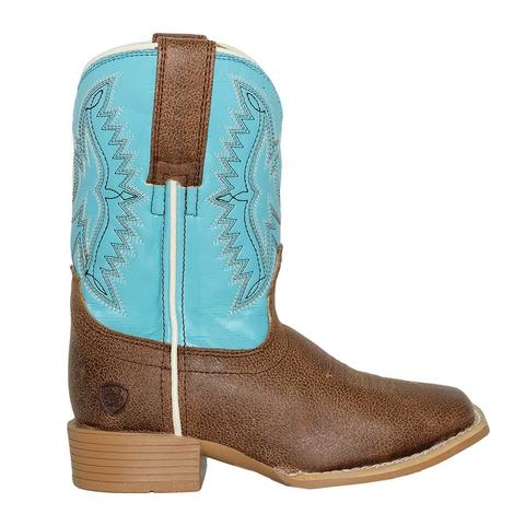 Ariat Bristo Tan Tilt Bustin Blue Kid and Youth Boot