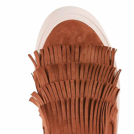 Ariat Womens Unbridled Bliss Cognac Suede Fringe Slip On Shoes