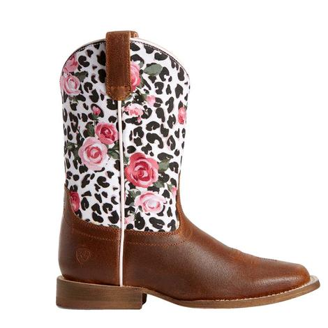 Ariat Leopard and Roses Rusted Brown Boots - Kid and Youth Sizes