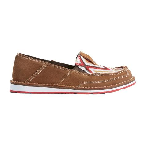 Ariat Red Aztec Print Leather Slipon Women's Cruiser