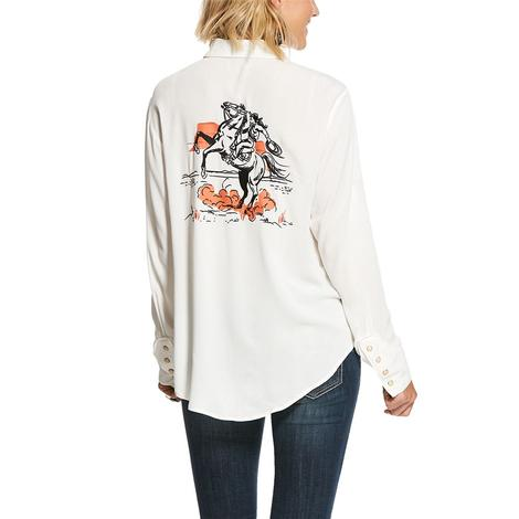 Ariat Ride Um White Button Down Long Sleeve Women's Shirt