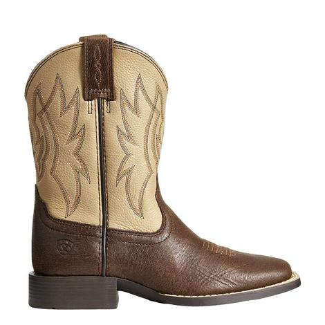 Ariat Cream and Brown Timber Boy's Boots
