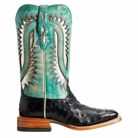 Ariat Turquoise Black Full Quill Ostrich Women's Boots