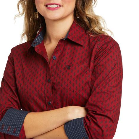 Ariat Kirby Stretch Dark Red Print Long Sleeve Women's Shirt