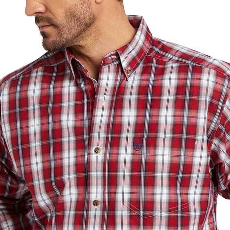 Ariat Bastian Red Plaid Long Sleeve Men's Shirt
