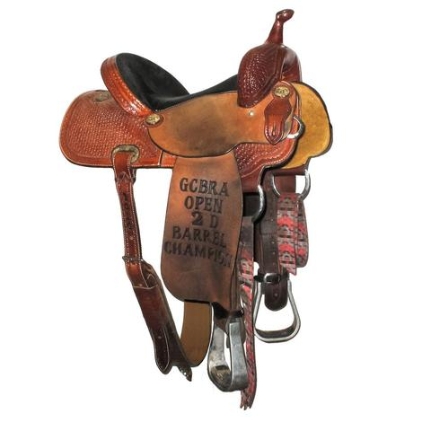 Larry Coats 14.5in Padded Suede Seat Used Barrel Saddle