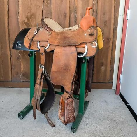 "STT Team Roping 14"" Tan Suede Used Saddle"