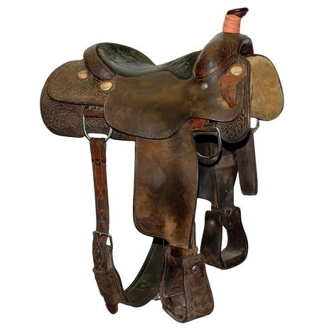 Larry Duggan 14inch Used Team Roping Saddle