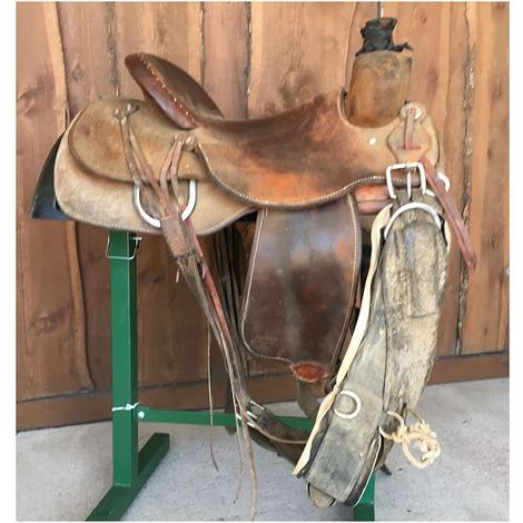 "Trent Ward 16"" Full Roughout Ranch Roper Used Saddle"