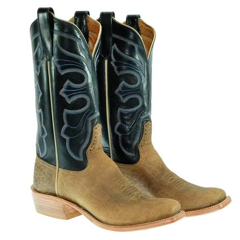 Rios of Mercedes Natural Bison Navy Burnished Calf Men's Boots
