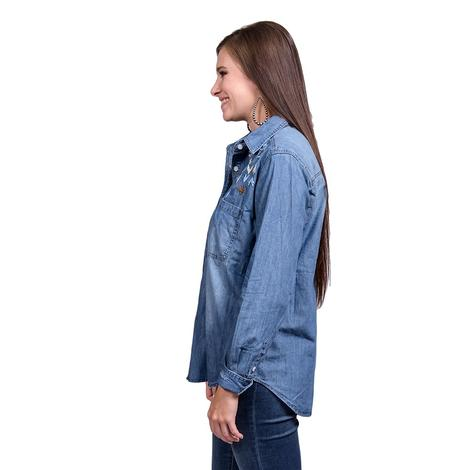 Stetson Womens Snap Embroidered Denim Button Down Shirt